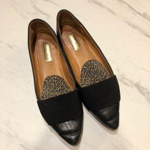 Nordstrom's Black Leather/Canvas Pointed Flats-6.5